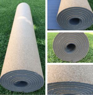 cork yoga mat, grey cork mat, eco mat, recycled mat