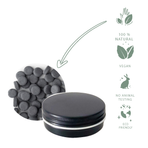 charcoal & Menthol tooth tablets, zero waste toothpaste